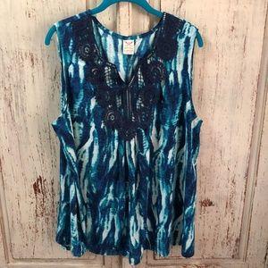 Ocean Blue Printed Blouse